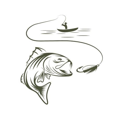 illustration de pêcheur dans un bateau et grande basse de bouche Vecteurs