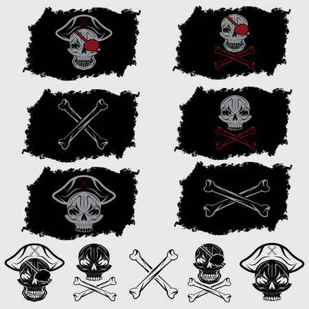 scallywag: pirate skull with hat set on flags and icons