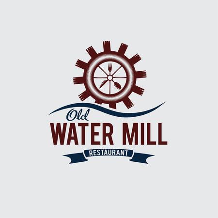 waterwheel: old water mill restaurant concept vector design template Illustration
