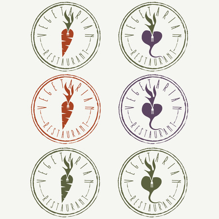 scrumptious: vegetarian restaurant labels with carrot and turnip Illustration