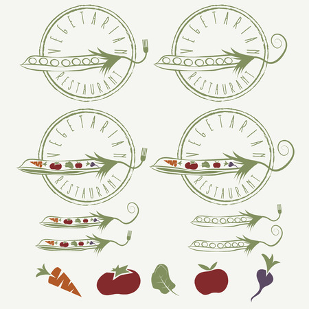 delectable: vegetarian restaurant labels with peas with vegetables and apple