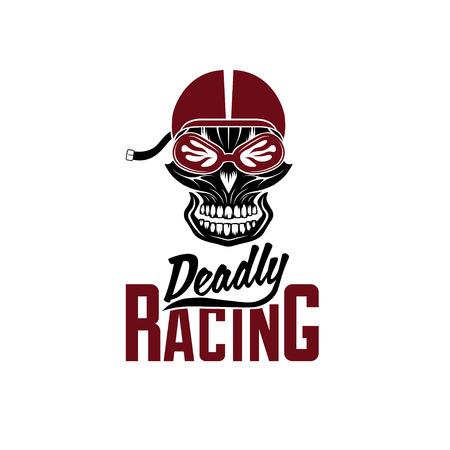 racer: skull racer with flame glasses vintage vector design template
