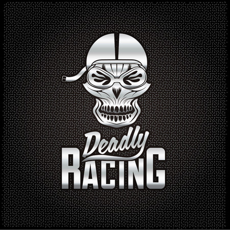 racer: silver skull racer with flame glasses vintage vector design template Illustration