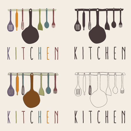 cooking icon: kitchen utensils set vector design template