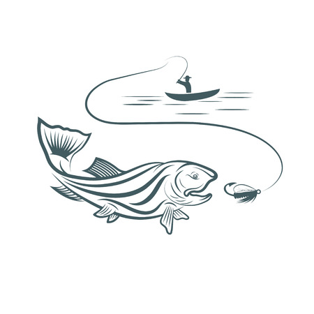 fisherman in boat and trout Vector