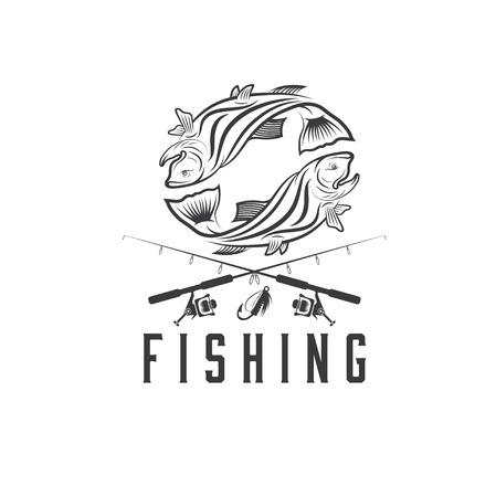 jumping carp: vintage fishing vector design template