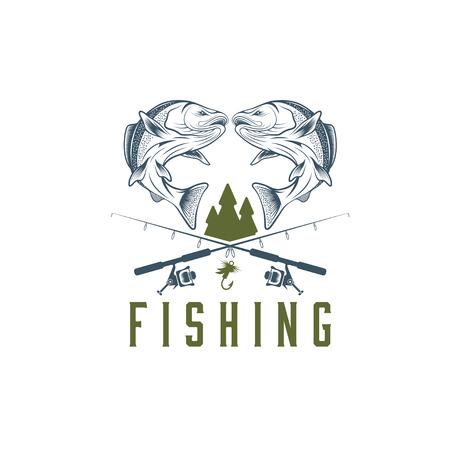 pez carpa: vector de la pesca del vintage plantilla de dise�o Vectores