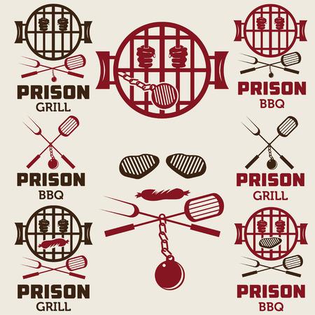 ward: prison bbq concept labels set