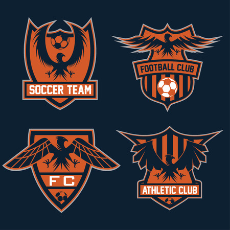 team sport: football team crests set with eagles vector design template