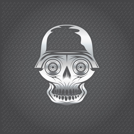 silver skull with wheel eyes on metal background Vector