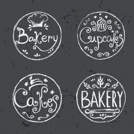 bakery products: Collection of vintage retro hand draw bakery labels .Vector Illustration