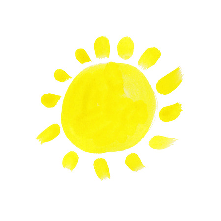 Illustration of hand drawn watercolor sun. Vector Vector