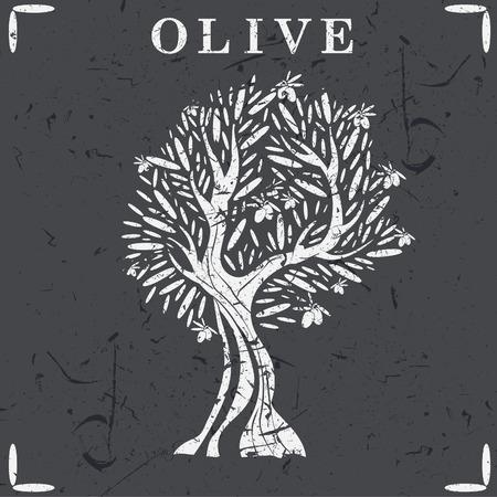 Illustration of olive tree. Vector Illustration