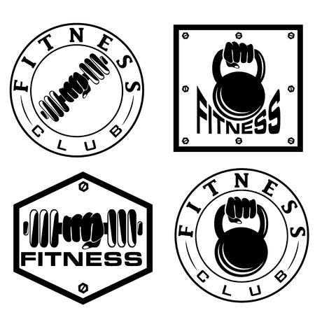 pectoral: hand holding barbell and kettlebell in emblems of fitness