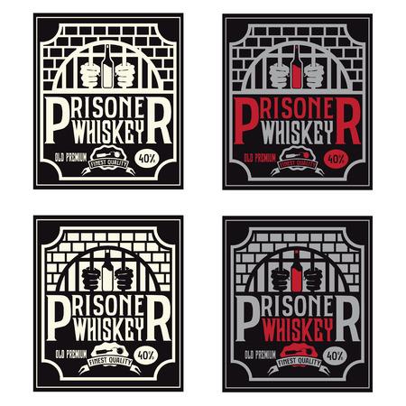 prisoner whiskey vintage labels set vector design template Illustration