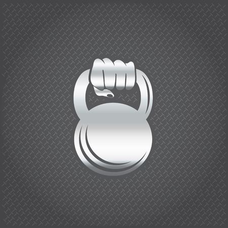 bicep curls: silver hand holding kettlebell vector design template