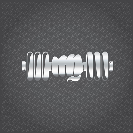 bicep curls: silver hand holding barbell vector design template