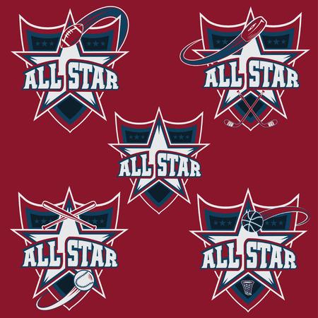 sport balls: set of vintage sports all star crests