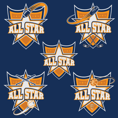 american football background: set of vintage sports all star crests