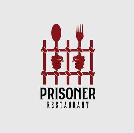 perpetrator: prisoner restaurant concept vector design template