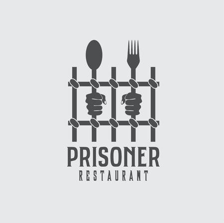 prisoner restaurant concept vector design template Vector