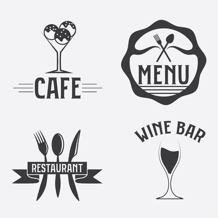 vintage cafe: set di caffetteria e ristorazione emblemi d'epoca