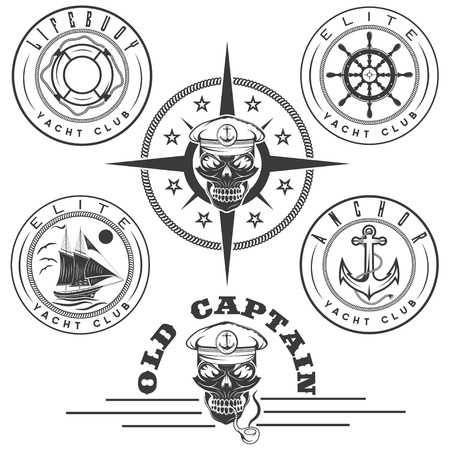 elite sport: set of vintage labels with boat ,captain skull ,wheel,anchor and lifebuoy
