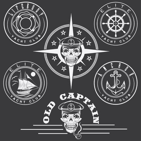 set van vintage labels met boot, kapitein schedel, wiel, anker en reddingsboei Stock Illustratie