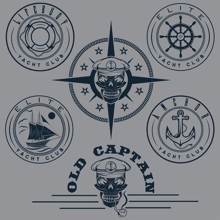 elite sport: set of vintage labels with boat ,captain skull ,wheel,anchor and lifebuoy