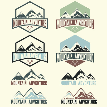 winter sport: set of vintage labels mountain adventure Illustration