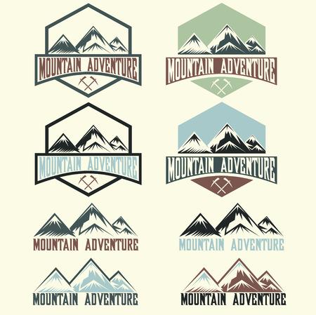 sport background: set of vintage labels mountain adventure Illustration