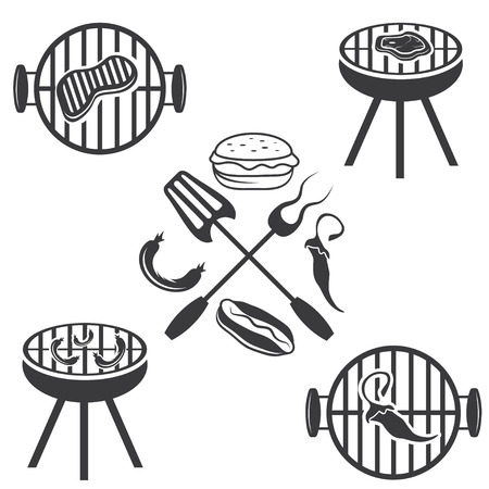 bbq labels set and design elements Vector