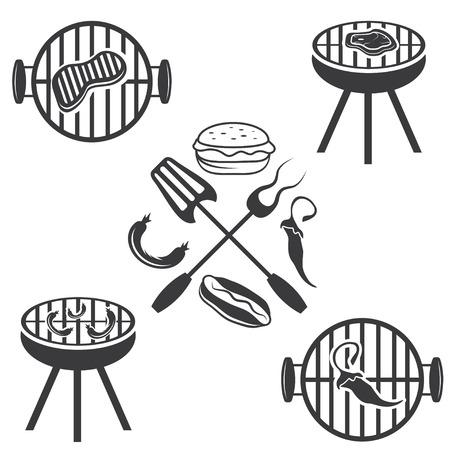 hot dog label: bbq labels set and design elements