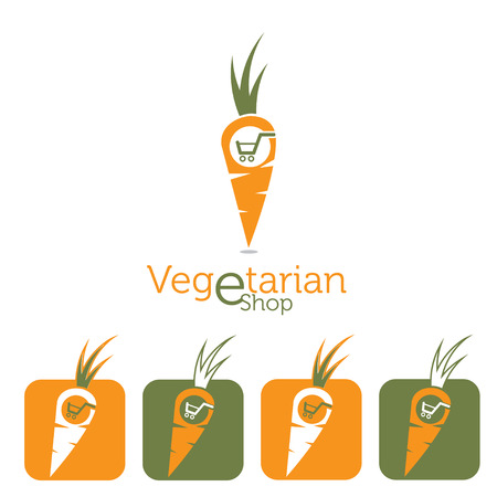 delectable: vegetarian e shop illustration with carrot and shopping cart Illustration
