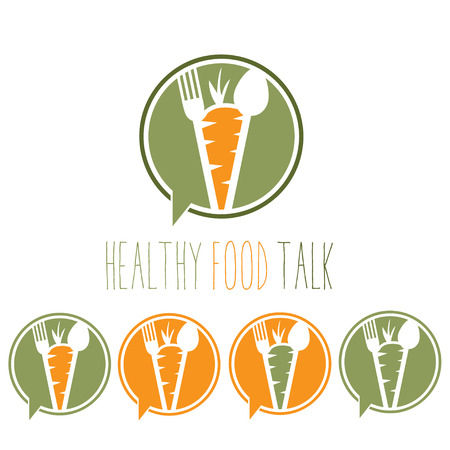 carrot: healthy food talk concept with carrot,spoon and fork