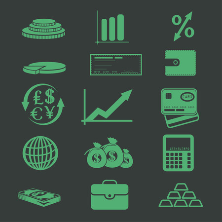 set of business and finance icons Vector