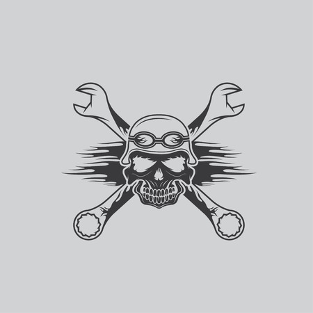 spurt: skull in helmet and wrenches with flames