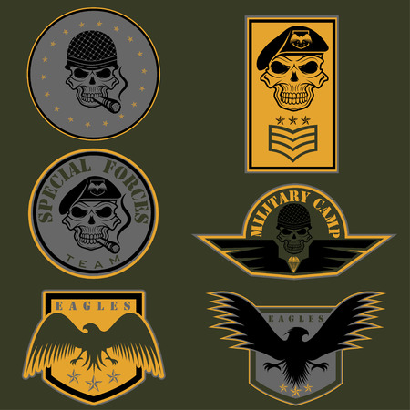 military shield: Special unit military emblem set