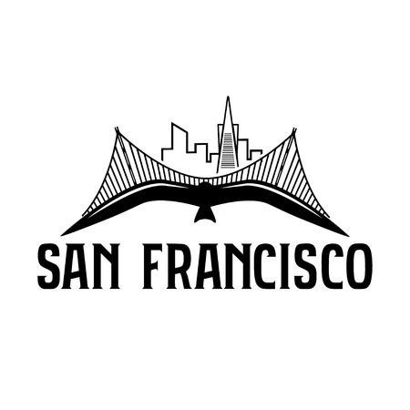 San Francisco のスカイラインはカモメのベクトルのデザイン テンプレートです。