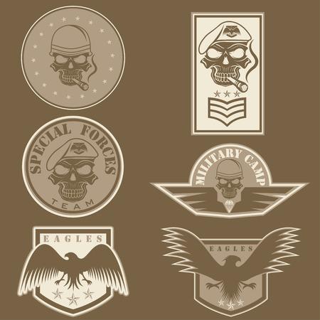 animal skull: Special unit military emblem set