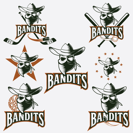 rustler: set of skull bandit sports labels