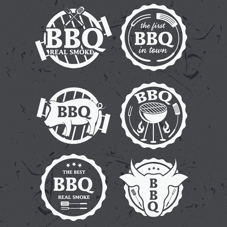 bbq: Illustration set of bbq labels on chalkboard . Vector