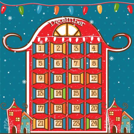 Illustration of a Christmas calendar. vector