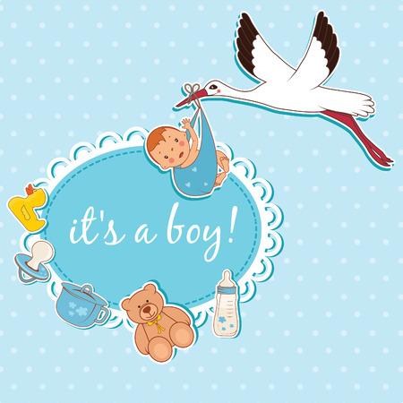 bringing: Illustration of stork bringing a boy. Vector