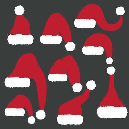 new year's cap: Set of red santa hats. Vector Illustration