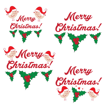 Illustration winter label with text Merry Christmas. Vector Vector