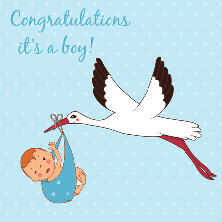 bringing: Illustration of stork bringing a boy. Vector