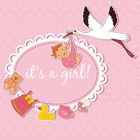 bringing: Illustration of stork bringing a girl. Vector