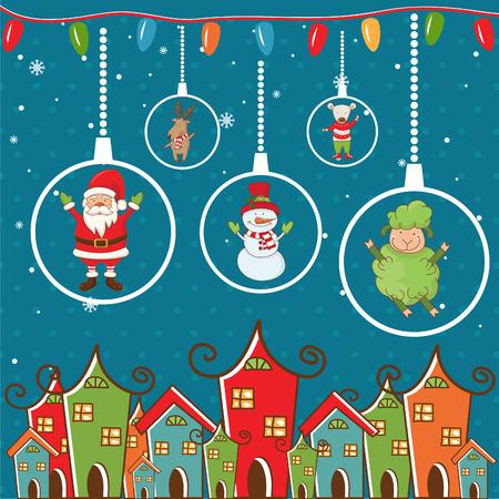 Paisaje de invierno con motivos de Navidad. Ilustración de vector.