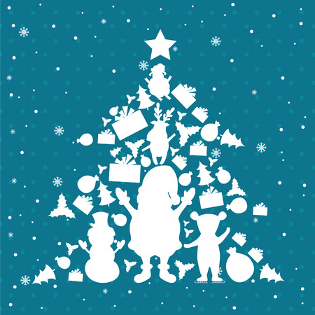 Illustration of christmas tree in christmas objects. Vector Vector